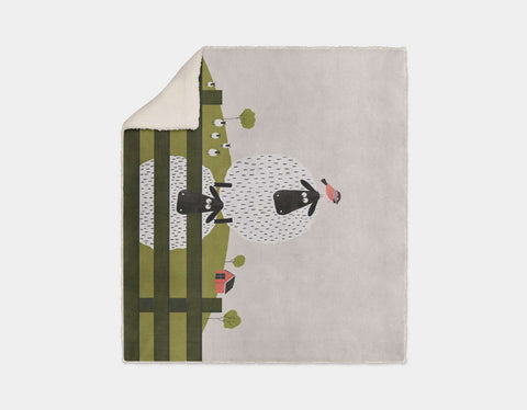 Counting Sheep Sherpa Blanket by Mel Armstrong - Cream
