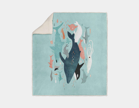 Under the Sea Menagerie Sherpa Blanket by Emily Dove - Cream