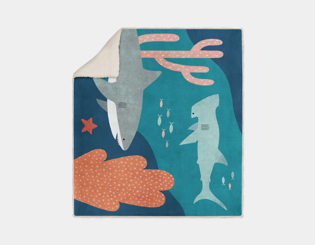 Silly Sharks Sherpa Blanket by Emily Dove - Cream