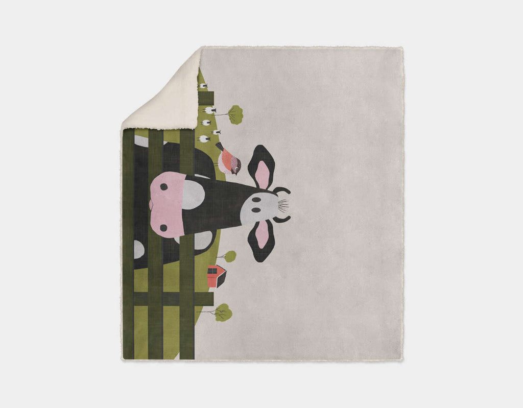 Caley the Cow Sherpa Blanket by Mel Armstrong - Cream