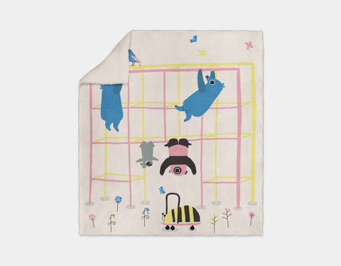 Happy Play Monkey Bars Sherpa Blanket by Sue Downing - Cream