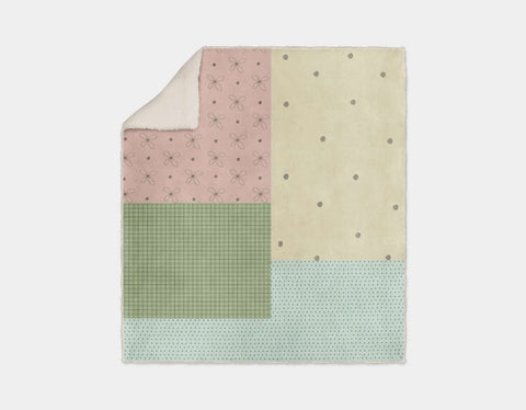 Patchwork Sherpa Blanket by Paola Zakimi - Cream