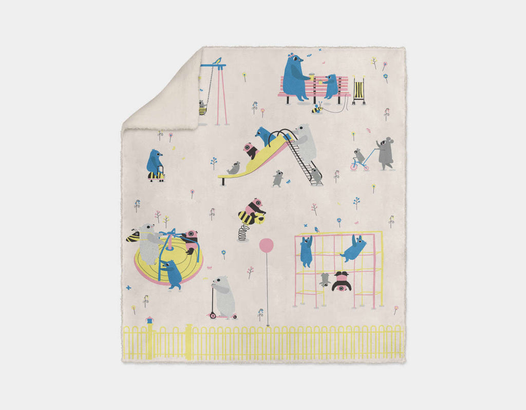 Happy Play Playground Sherpa Blanket by Sue Downing - Cream