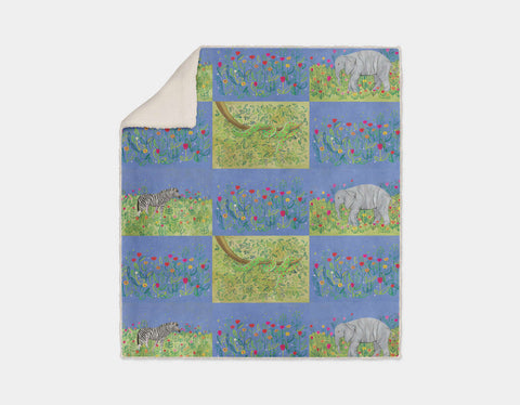Jungle Patches Sherpa Blanket by Jenny Reynish - Cream