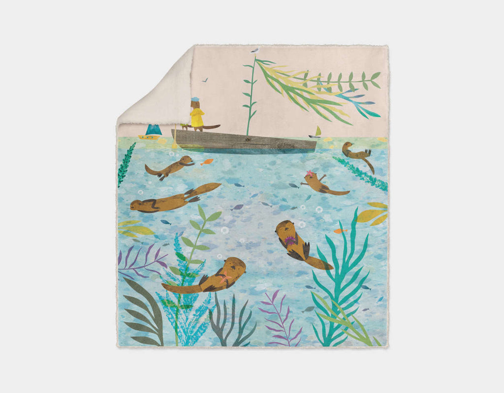 Sea Otters At Play Sherpa Blanket by Christopher Lyles - Cream