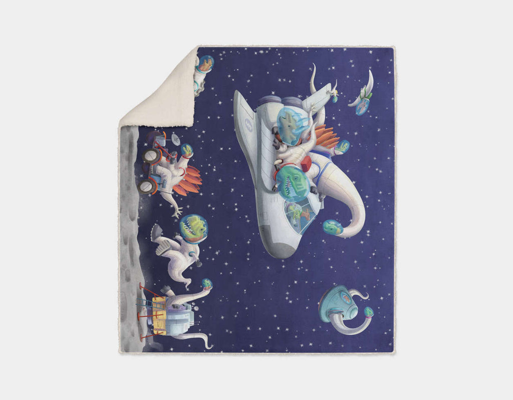 Space Dinos Sherpa Blanket by Barry Gott - Cream
