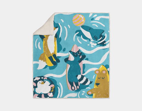 Sunbathing Surfers Sherpa Blanket by Kelly Breemer - Cream
