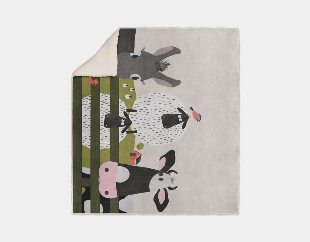 On the Farm Sherpa Blanket by Mel Armstrong - Cream