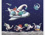 Space Dinos Sherpa Blanket by Barry Gott - Design
