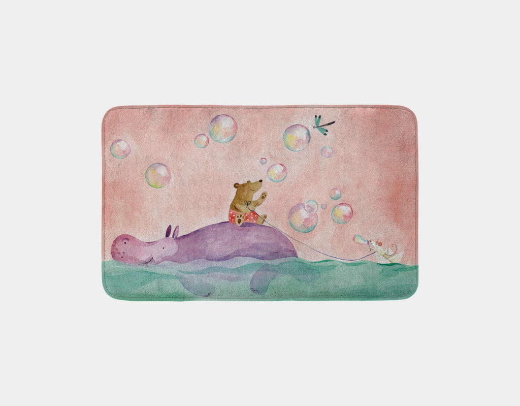 Paper Boat Rider Bath Mat by Anna Shuttlewood - Main