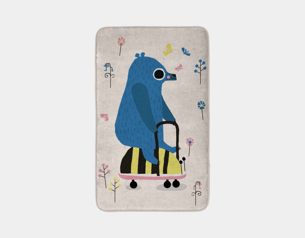 Happy Play Little Blue Bear Bath Mat by Sue Downing - Main