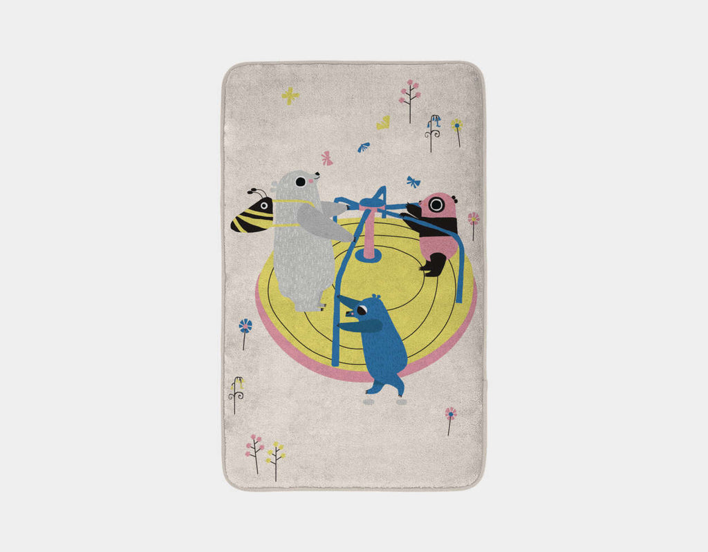 Happy Play Roundabout Bath Mat by Sue Downing - Main