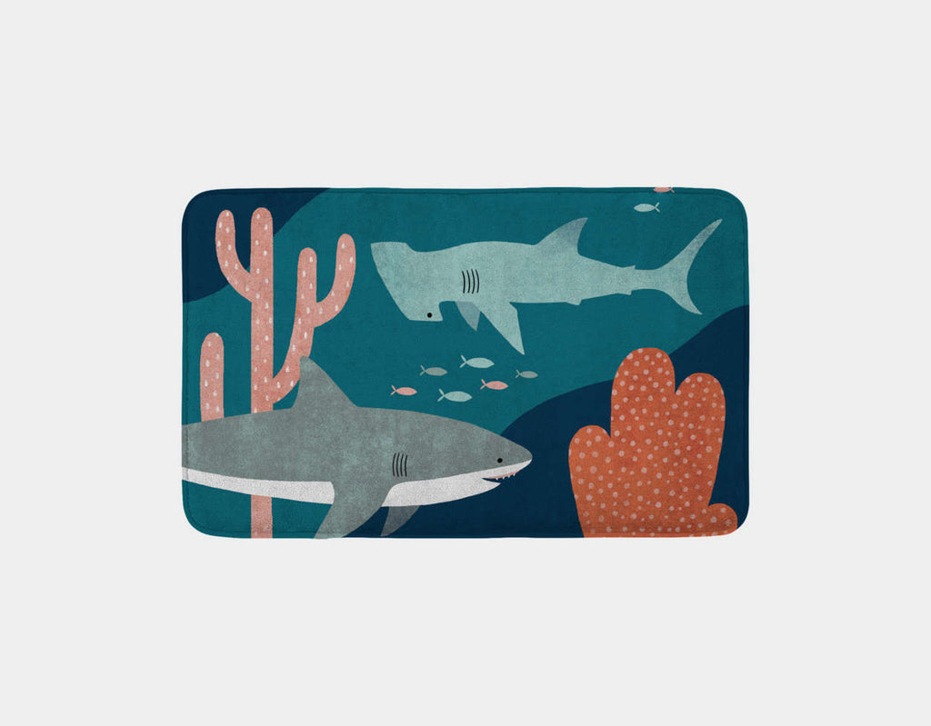 Silly Sharks Bath Mat by Emily Dove - Main
