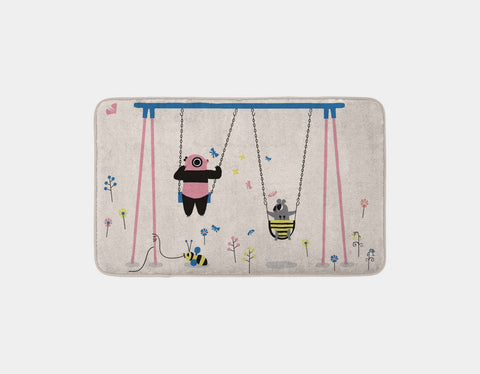 Happy Play Swings Bath Mat by Sue Downing - Main