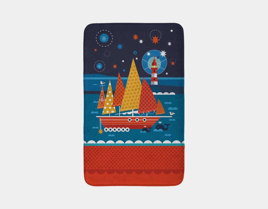 Ship Ahoy! Bath Mat by Shirley Copperwhite - Main