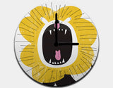 Roaring Lion Clock by Pragya Kothari - Black / Black