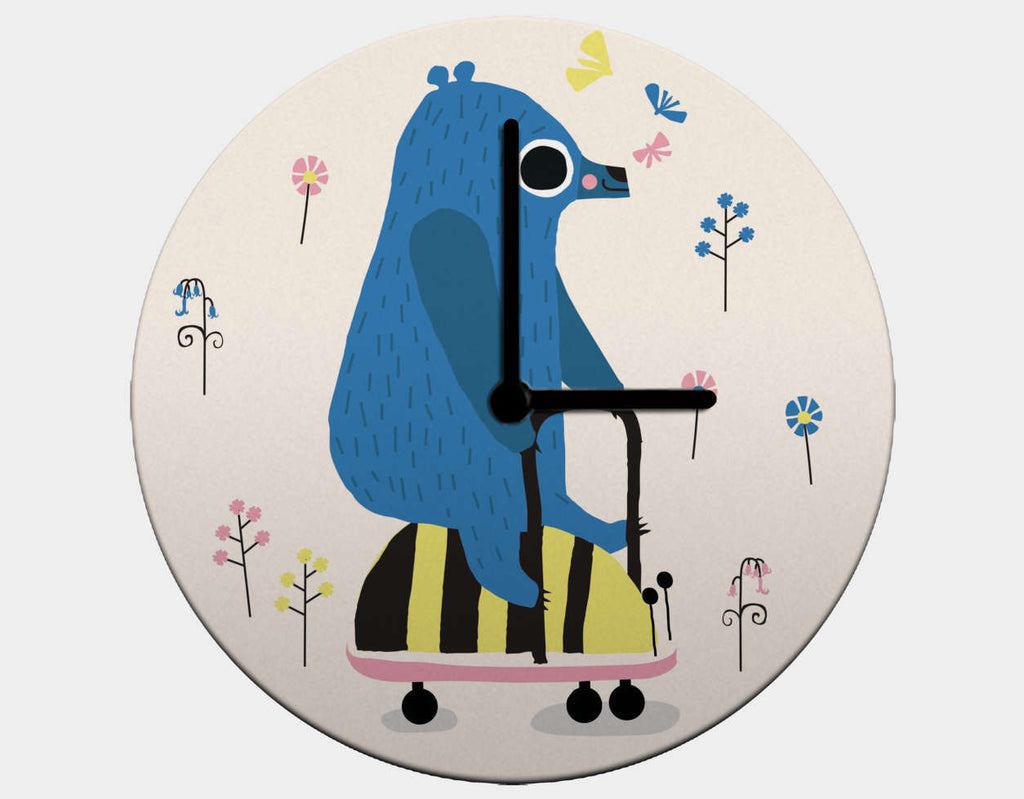 Happy Play Little Blue Bear Clock by Sue Downing - Black / Black