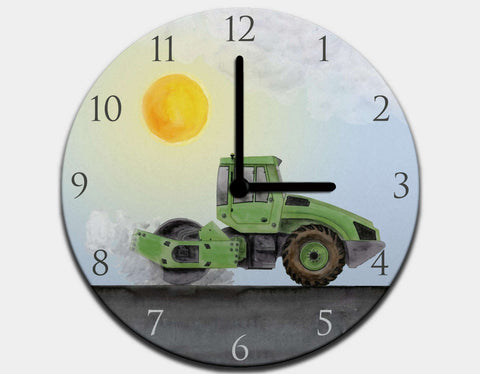 Green Steamroller Clock by Brett Blumenthal - Black / Black