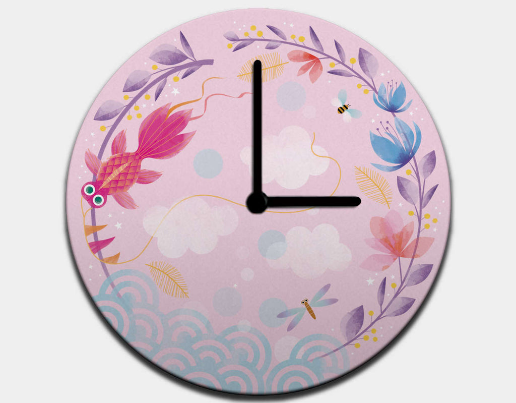 Pretty Kite Clock by Marie-Rose Boisson - Black / Black