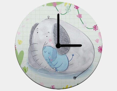 Elephant Cuddles Clock by Chloe Evans - Black / Black