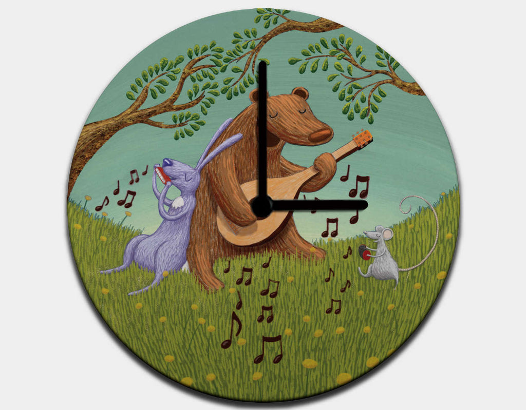 Bear's Jam Session Clock by Julia Collard - Black / Black