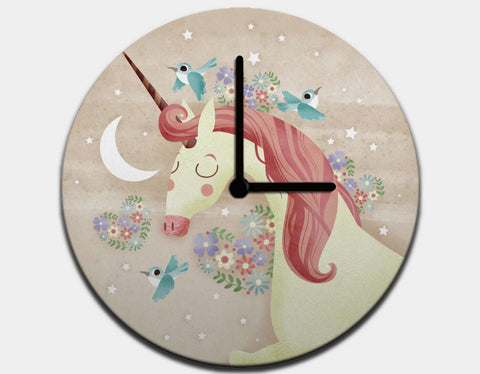 Magical Unicorn Clock by Valentina Belloni - Black / Black
