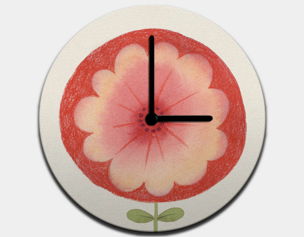 Red Flower Clock by Neesha Hudson - Black / Black