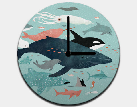 Under the Sea Menagerie Clock by Emily Dove - Black / Black