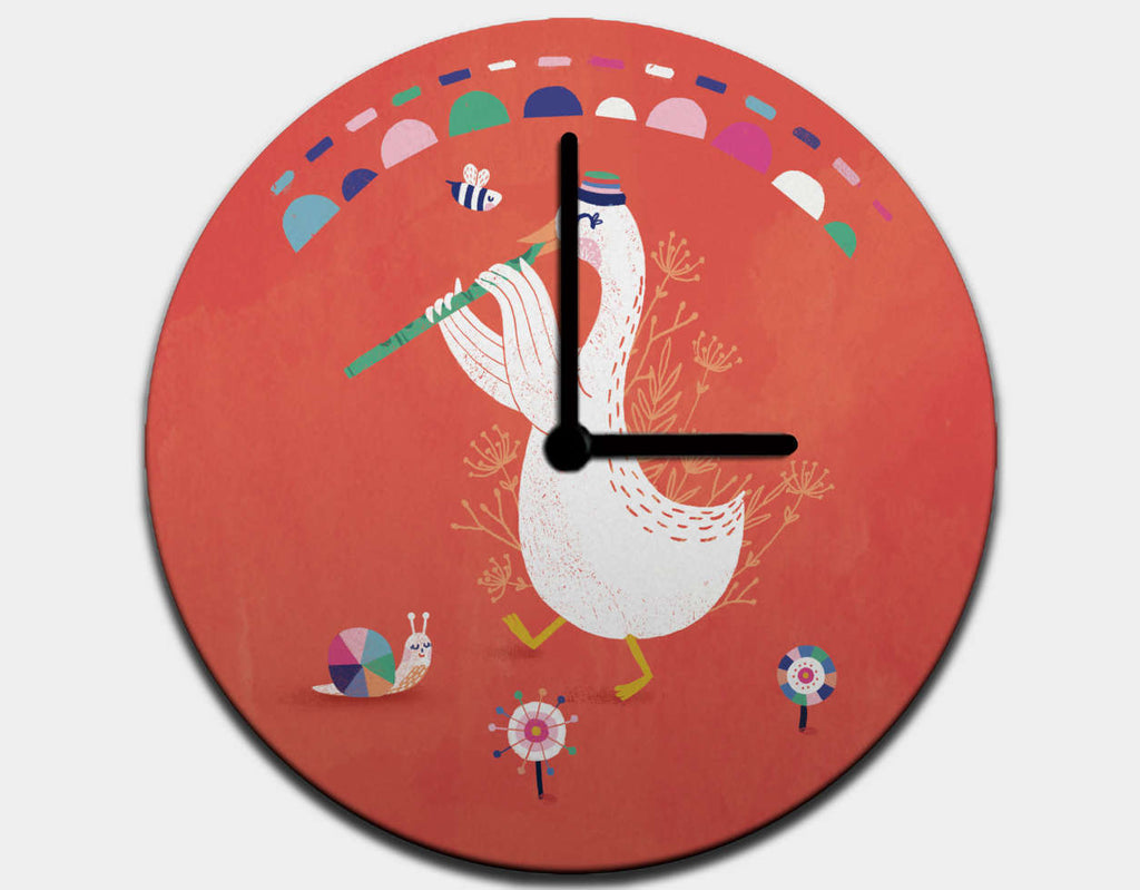 Flute Dream Clock by Antoana Oreski - Black / Black