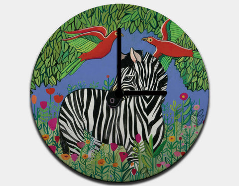 Zebra in the Jungle Clock by Jenny Reynish - Black / Black