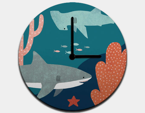 Silly Sharks Clock by Emily Dove - Black / Black