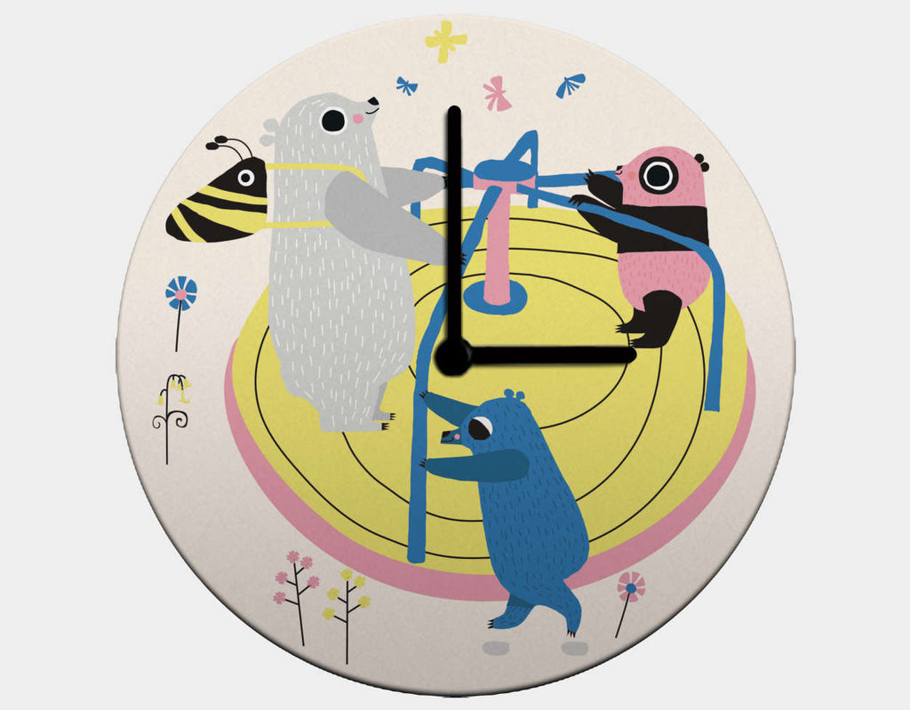 Happy Play Roundabout Clock by Sue Downing - Black / Black