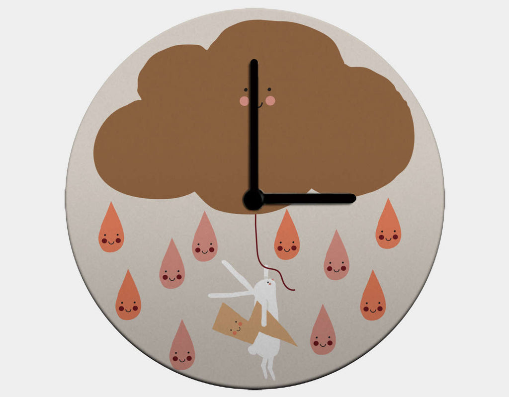 Happy Bunnies and Raindrops Clock by Sue Downing - Black / Black