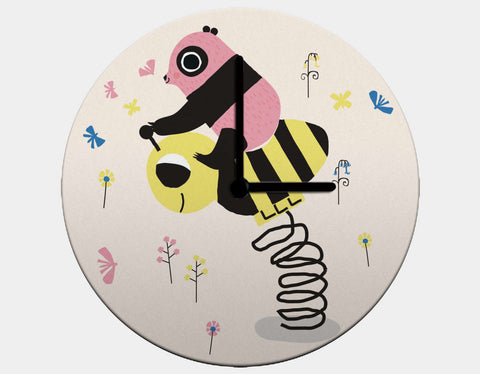 Happy Play Little Pink Panda Clock by Sue Downing - Black / Black