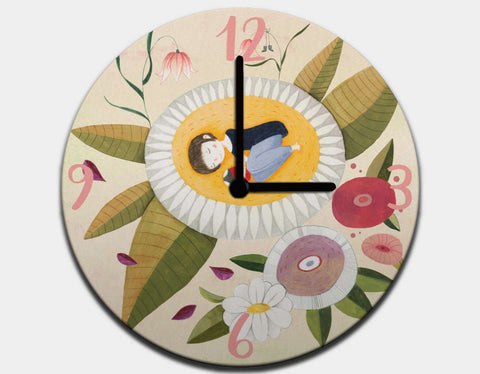 Garden Dreams Clock by Judith Loske - Black / Black