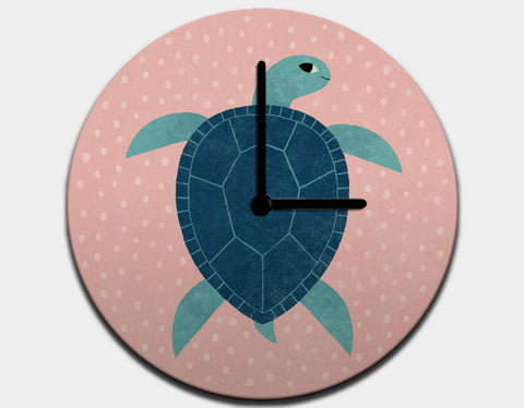 Smiling Sea Turtle Clock by Emily Dove - Black / Black