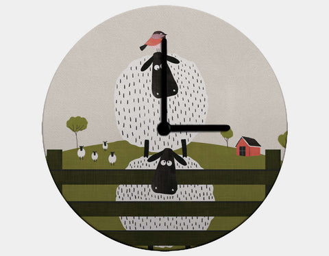Counting Sheep Clock by Mel Armstrong - Black / Black