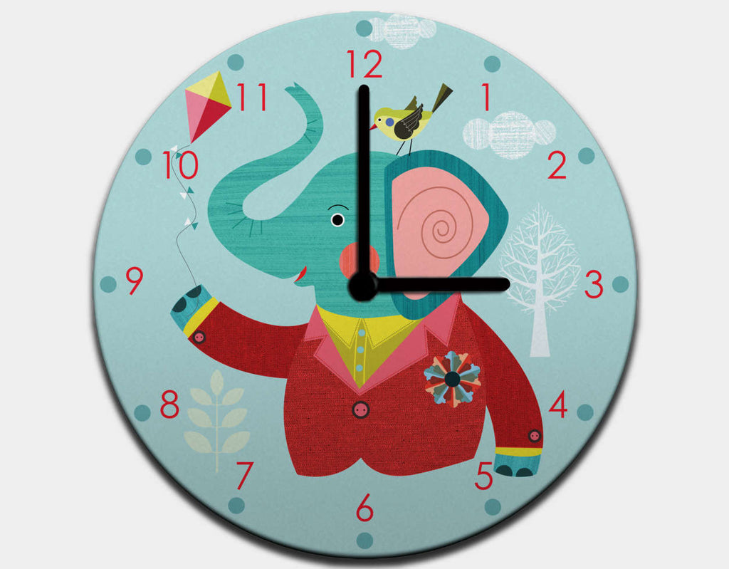 Enzo the Elephant Clock by Ellen Giggenbach - Black / Black