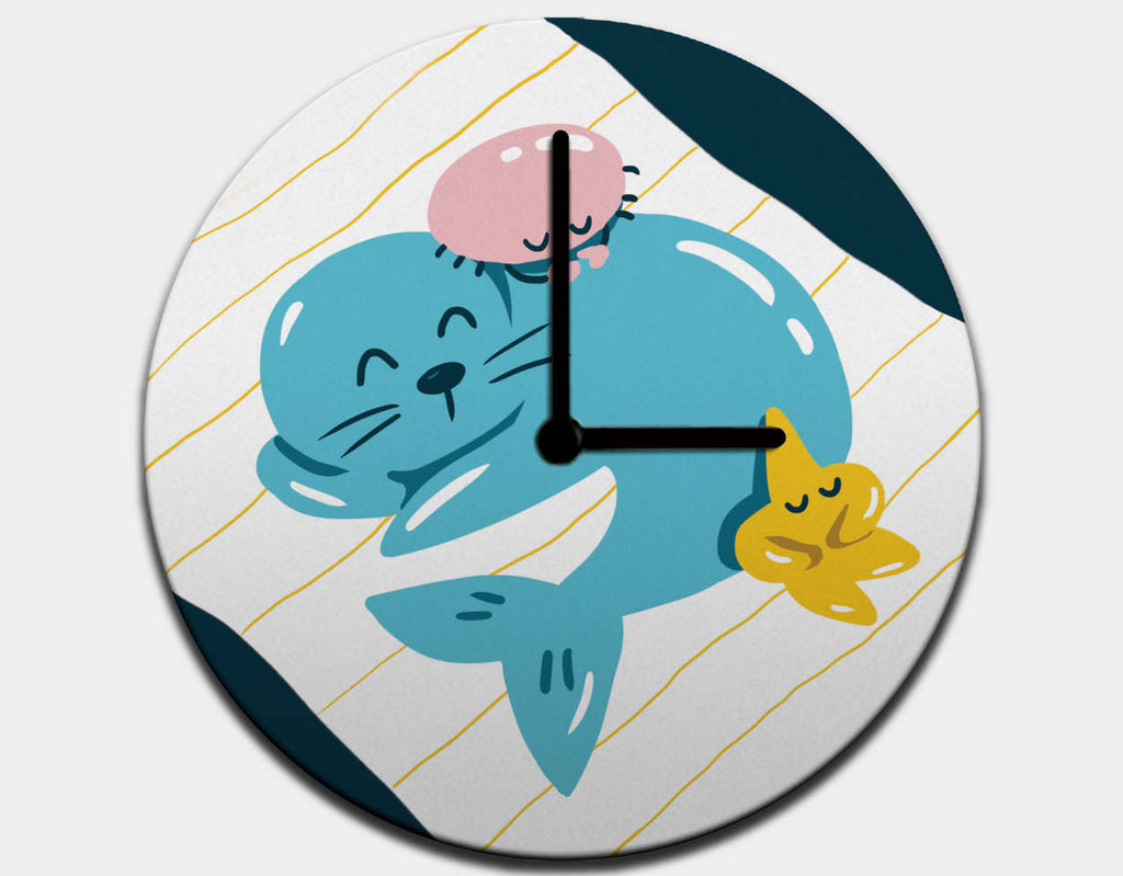 Sleepy Seal Clock by Kelly Breemer - Black / Black