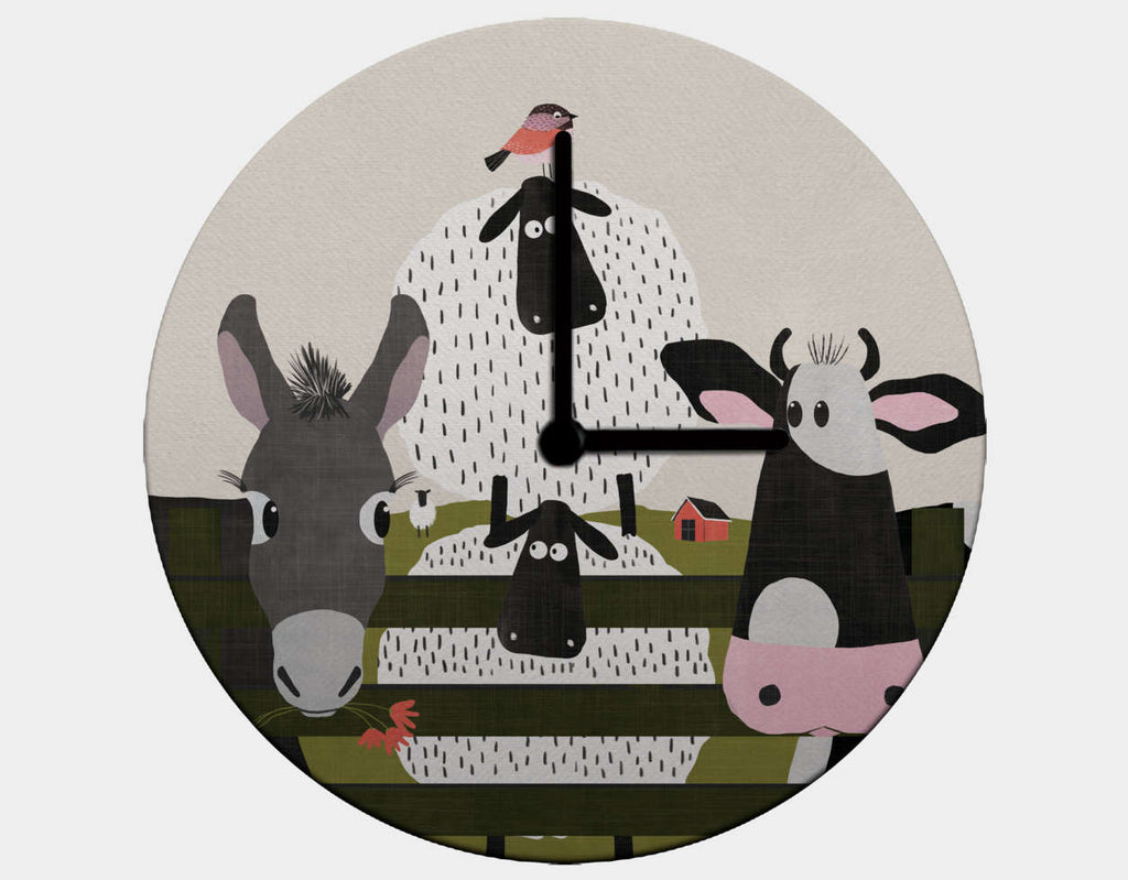 On the Farm Clock by Mel Armstrong - Black / Black