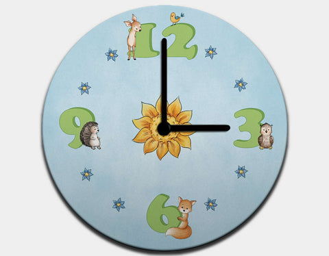 Woodland Time Clock by Anna Abramskaya - Black / Black
