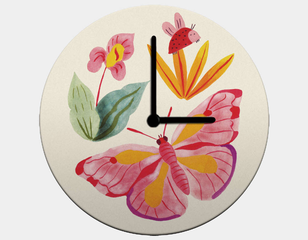 Ladybug and Butterfly Clock by Betânia Sensini - Black / Black