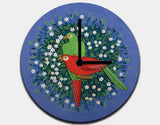 Birds of Paradise Clock by Jenny Reynish - Black / Black