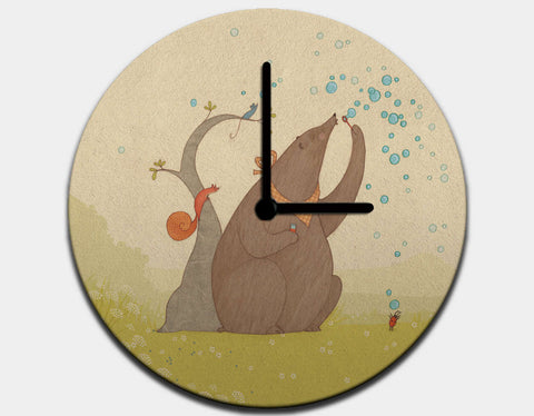 Bear's Bubbles Clock by Alexandra Ball - Black / Black