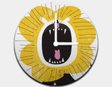 Roaring Lion Clock by Pragya Kothari - Black / White