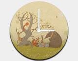 Picnic Under the Tree Clock by Alexandra Ball - Black / White