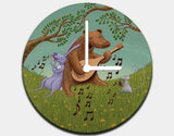 Bear's Jam Session Clock by Julia Collard - Black / White