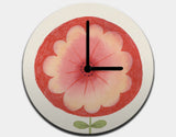 Red Flower Clock by Neesha Hudson - White / Black