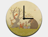 Picnic Under the Tree Clock by Alexandra Ball - White / Black