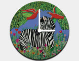 Zebra in the Jungle Clock by Jenny Reynish - White / White